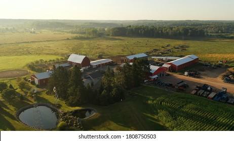 Aerial view of american Midwestern countryside landscape, farmland. Rural scenery, Establishing shot of the farm. Sunny morning, summer season