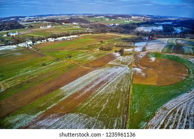Aerial View of Amish Farmland in Pennsylvania