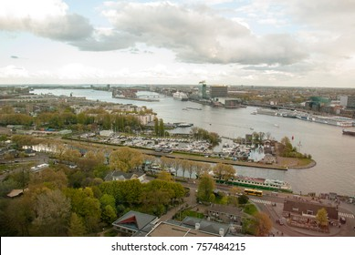 Aerial view of Amsterdam city from a high building