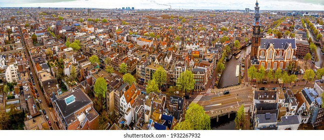 Aerial view of Amsterdam in the early spring, Netherlands