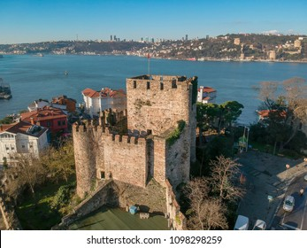 Aerial view of Anatolian Fortress in Istanbul Turkey