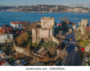Aerial view of Anatolian Fortress and Rumeli Fortress in Istanbul Turkey