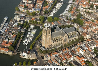 Aerial view of ancient church Grote Kerk or Onze-Lieve-Vrouwekerk in the historic citycenter of Dordrecht in the province Zuid-Holland in The Netherlands.
