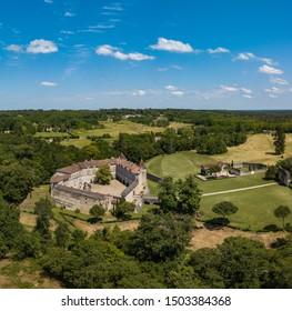 Aerial view of ancient fortified castle of Chateau de Cazeneuve, Prechac, Bordeaux region, France