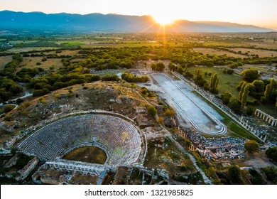 Aerial view of ancient Greek city Aphrodisias at sunset.