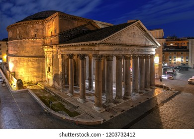 Aerial view of the ancient Pantheon church at dawn in Rome, Italy.