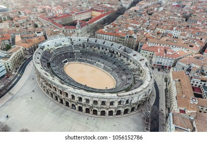 Aerial view of ancient roman amphitheatre on Nimes, France