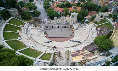 Aerial view of the ancient Roman Theater, May 6 2018, Plovdiv, Bulgaria