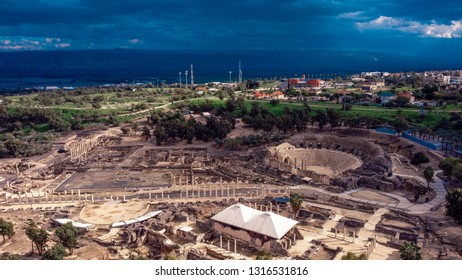 Aerial View to the Ancient Ruins, Beit She'an National Park, Israel