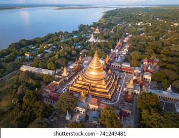 Aerial view at the ancient Shwezigon Pagoda,the main tourist destination of Bagan, Myanmar (Burma)