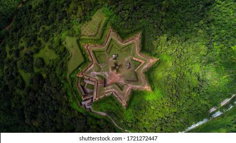 Aerial view of the ancient star-shaped Manjarabad Fort in Karnataka, India