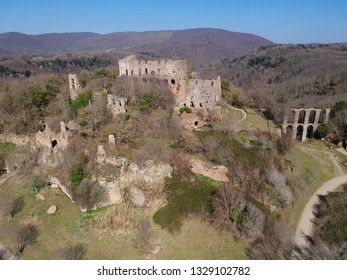 aerial view of the ancient town Monterano