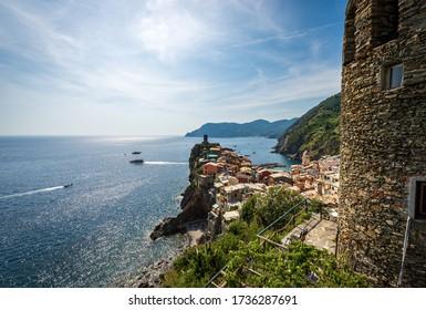 Aerial view of the ancient Vernazza village. Cinque Terre, National park in Liguria, La Spezia province, Italy, Europe. UNESCO world heritage site