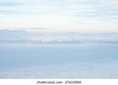 aerial view - andes mountains, sky and white clouds