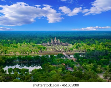 Aerial view of Angkor Wat Temple, Siem Reap, Cambodia, Southeast Asia. UNESCO World Heritage Site.