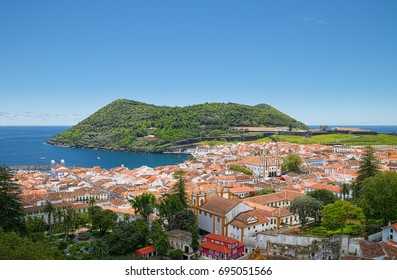 Aerial view of Angra do Heroismo city and Monte Brasil mountain, located on Azorean island of Terceira, Portugal.