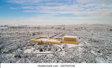 Aerial view of Anitkabir - Mausoleum of Ataturk, Ankara Turkey winter time . Is the mausoleum of Mustafa Kemal Ataturk