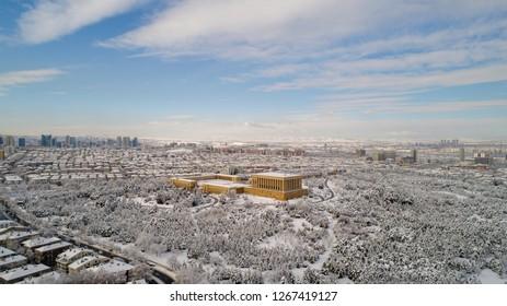 Aerial view of Anitkabir - Mausoleum of Ataturk, Ankara Turkey in winter time . Is the mausoleum of Mustafa Kemal Ataturk