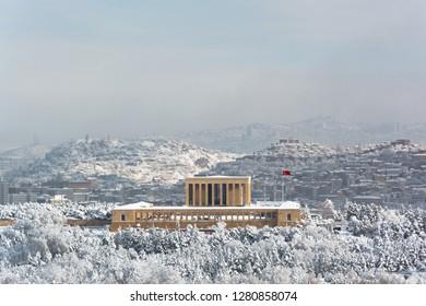 Aerial View of Anitkabir Mausoleum of Ataturk Ankara Turkey on Snowy Winter Day