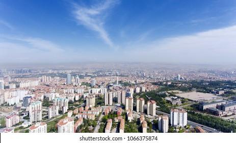Aerial view of Ankara, Capital city of Turkey. Cankaya Atakule