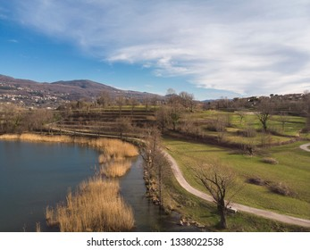 Aerial view of the Annone lake in Brianza - Italy