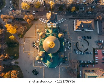 Aerial view of Annunciation Cathedral - Orthodox Church in center of Voronezh city at sunset, Russia