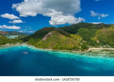 Aerial View: Anse Pasquiere, Praslin, Seychelles