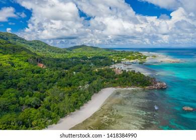 Aerial View: Anse Severe, La Digue, Seychelles