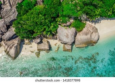 Aerial View: Anse Source d'Argent, La Digue, Seychelles