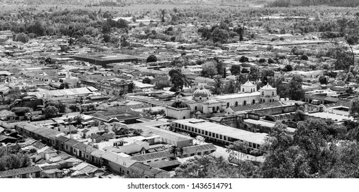 An aerial view of Antigua, Guatemala in Central America in stunning black and white