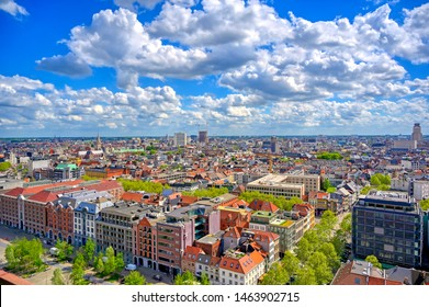 An aerial view of Antwerp (Antwerpen), Belgium on a sunny day.