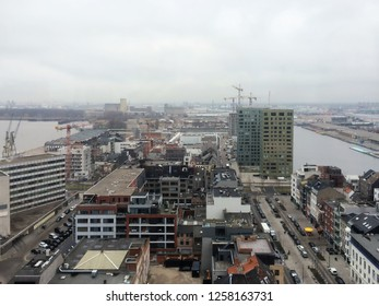 Aerial view of Antwerp harbor from museum MAS roof terrace