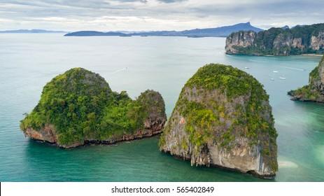 Aerial view of Ao Nang coastine in Krabi province, Thailand