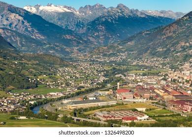 Aerial view of Aosta, Valle d'Aosta, Italy