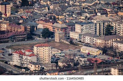 Aerial view of Aosta, Aosta Valley (Italy)