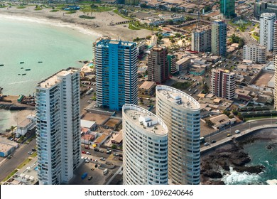 Aerial view of apartment buildings at La Peninsula and Cavancha Beach at the port city of Iquique in northern Chile