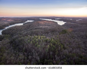 Aerial view of Appalachian Mountains in North Georgia during sunset