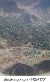 Aerial view of approach to Leh and   lower Himalayan foothills Ladakh , India
