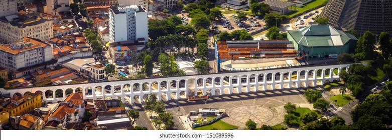 Aerial view of an aqueduct, Carioca Aqueduct, Santa Teresa, Rio de Janeiro, Brazil