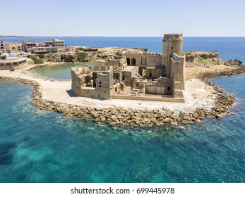 Aerial view of the Aragonese castle of Le Castella, Le Castella, Calabria, Italy: the Ionian Sea, built on a small strip of land overlooking the Costa dei Saraceni in the hamlet of Isola Capo Rizzuto