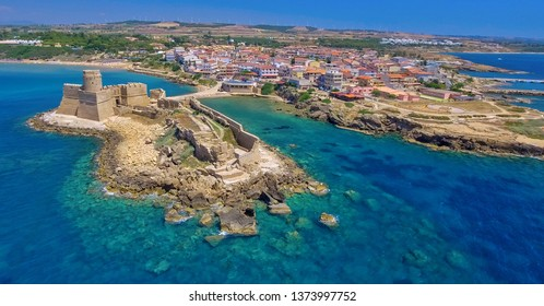 Aerial view of Aragonese Fortress in Calabria - Italy.
