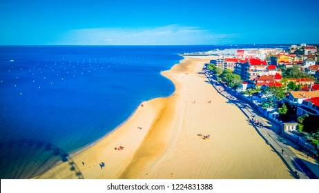 Aerial view of Arcachon seaside summer holidays resort town in the southwest of France near the Bordeaux. Arcachon town is known for oyster harvesting.
