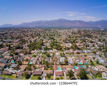 Aerial view of Arcadia with San Gabriel Mountain view