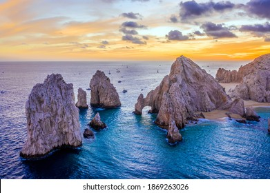 Aerial view of the Arch of Cabo San Lucas, Mexico at sunset, Lands End, Baja California Sur