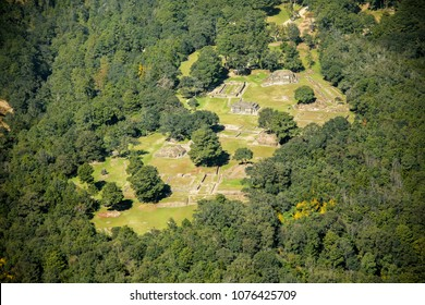 Aerial view of the archaeoligical site of Iximché located in Chimaltenango, Guatemala. It was the capital of the Late Postclassic Kaqchikel Maya kingdom from 1470 until its abandonment in 1524.