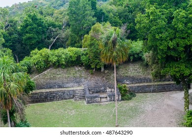Aerial view of the archaeological site Yaxha, Guatemala
