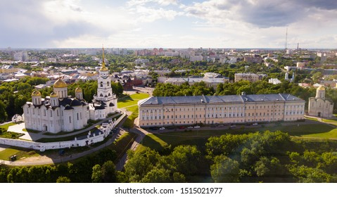 Aerial view of architectural ensemble of Dormition Cathedral and Cathedral of St. Dmitrii in Russian town of Vladimir