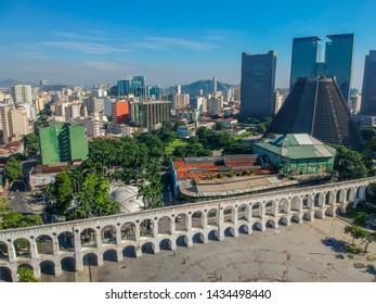 Aerial view of Arcos da Lapa Arches and Santa Teresa Tram - Rio de Janeiro, Brazil. The most popular Lapa Arches and a favorite holiday destination for tourists from all over the world.