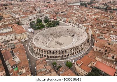 Aerial view of Arena di Verona, Italy