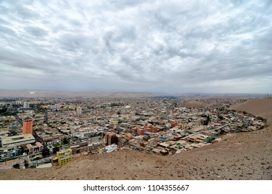 Aerial view to Arica town in Chilean desert